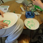 Green worm crafts for St Patricks Day.