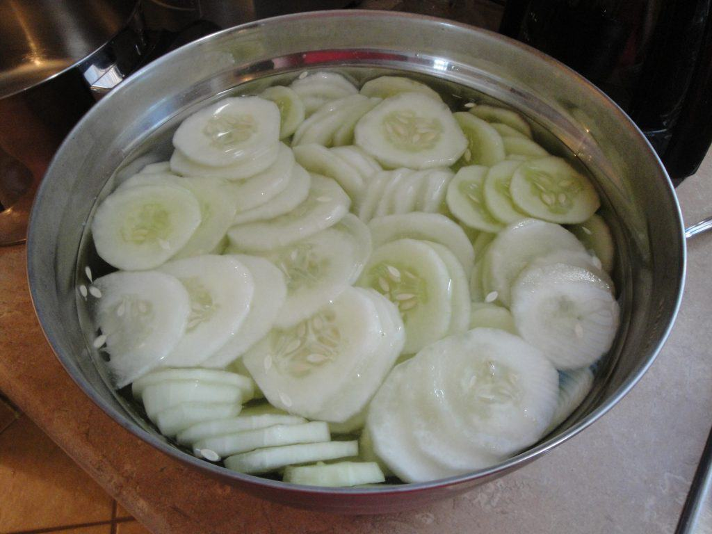 bowel of cut-up, clean cucumbers for cooking and canning.
