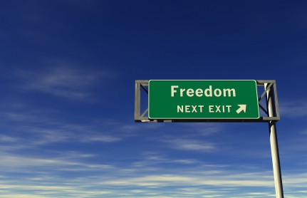 "Sign that says, ""Freedom, next exit.\"""