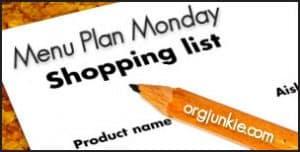 Menu planning around grocery shopping.