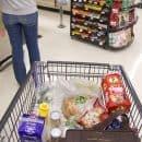 Cart full of groceries.