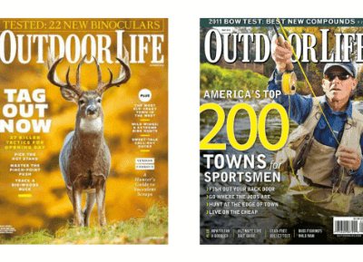 two copies of Outdoor Life magazine on a white background