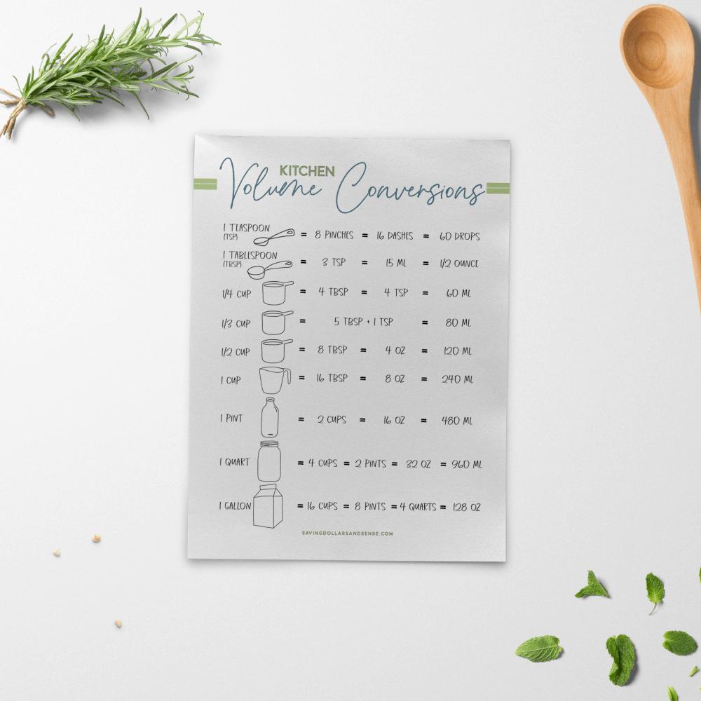 kitchen conversion chart