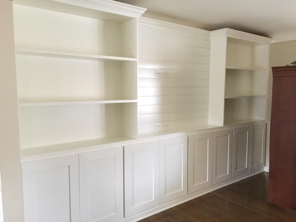 Clean and beautiful built-in for shelves and storage cabinets.