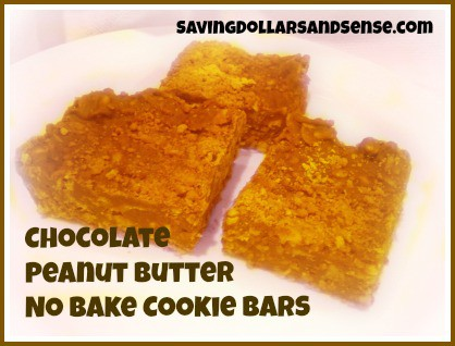 Chocolate Peanut Butter No Bake Cookie Bars