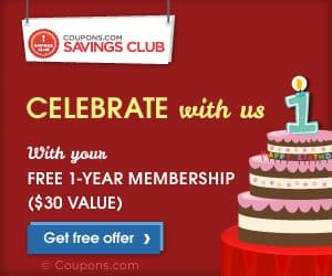 FREE 1 Year Membership To Coupons.com Coupon Club!