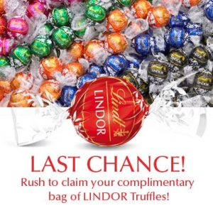 Last Chance For Your FREE Bag Of Lindt Truffles!