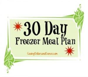 30 Day Freezer Meal Menu Plan