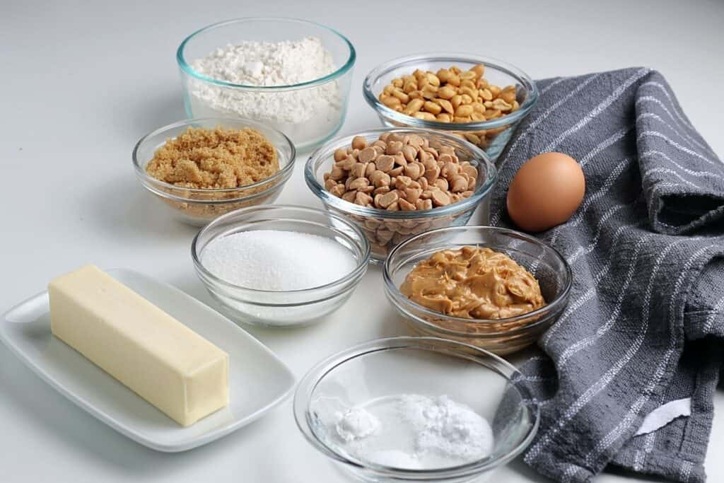 Ingredients needed to make these peanut butter cookies.