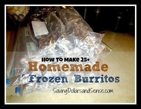 Homemade frozen burritos.