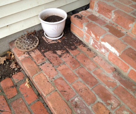 Flower pot with dirt scattered everywhere.