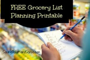 Grocery List Planning Printable
