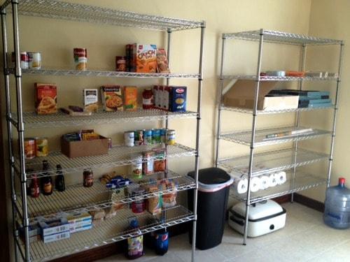 Pantry room shelves.