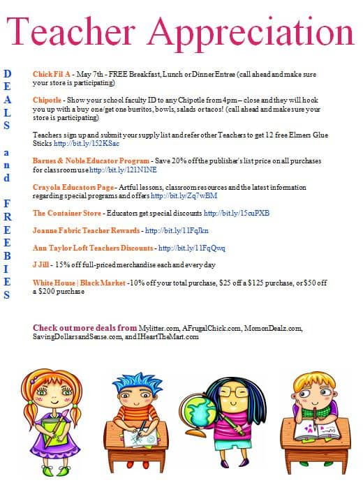 Teacher Appreciation Day Deals & Freebies Printable List ...