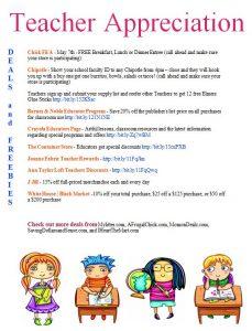 Teacher Appreciation Day Deals & Freebies Printable List