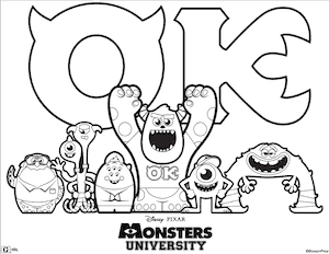 Monsters University Printable Coloring Page