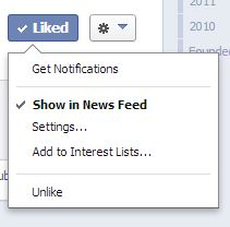Show in News Feed on Facebook.