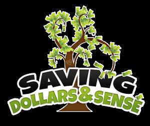 Saving Dollars and Sense logo with cute tree.