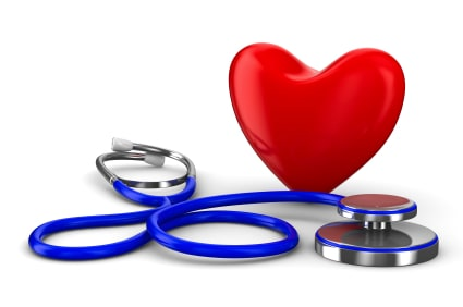 Heart with stethoscope. Taking care of your health.