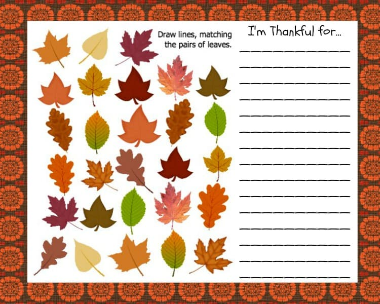 Kids Thanksgiving place mat with list to write blessings and gratitude.