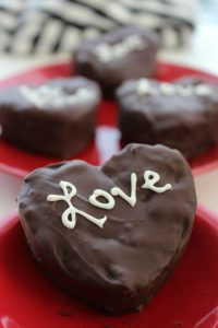 Chocolate Covered Cream Filled Heart Brownies