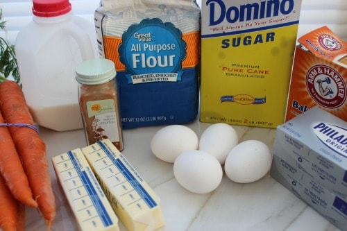 Carrot Cake Cupcakes ingredients needed.