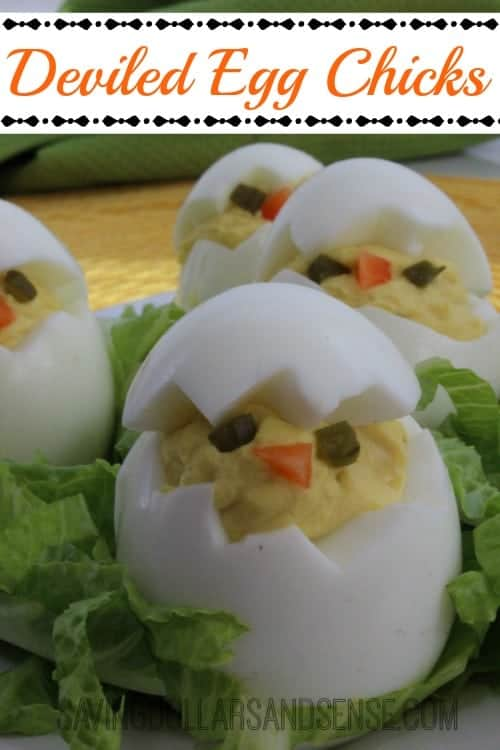 Deviled Egg Chicks with deviled eggs.