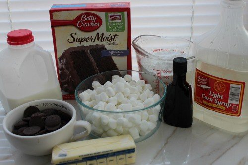 Ingredients for Easter lamb cupcakes.