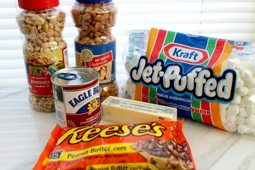 Homemade PayDay Candy Bars Recipe ingredients.