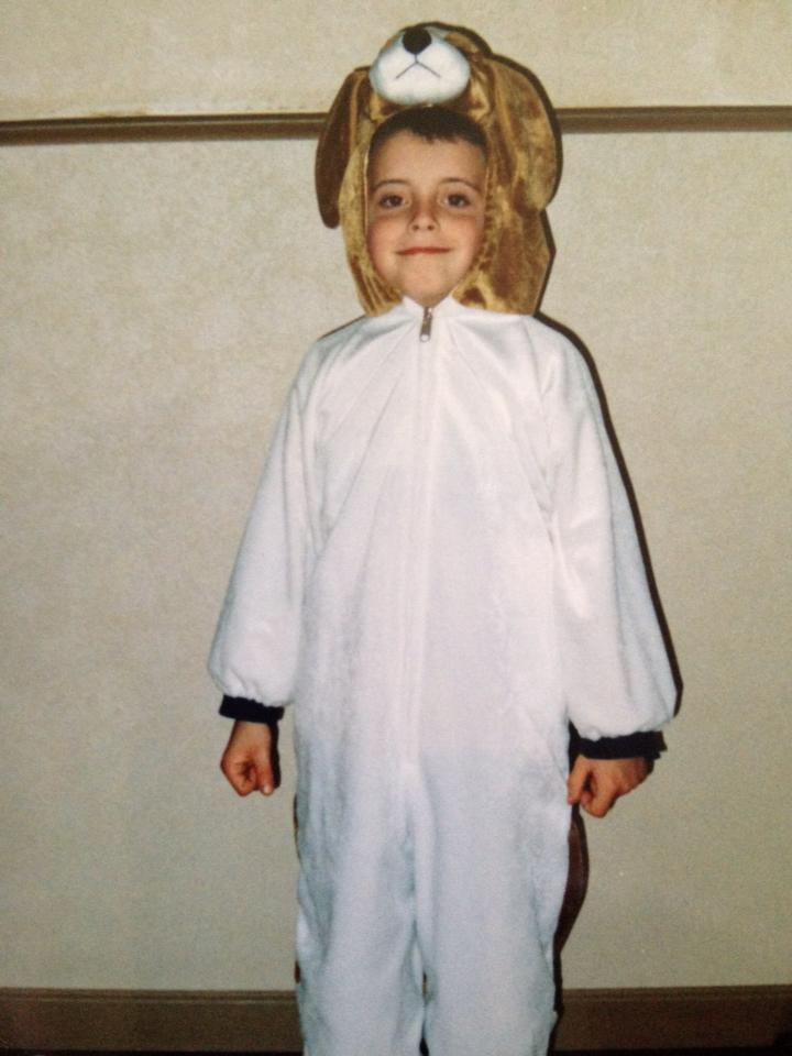 A little boy dressed as a bear for Halloween.
