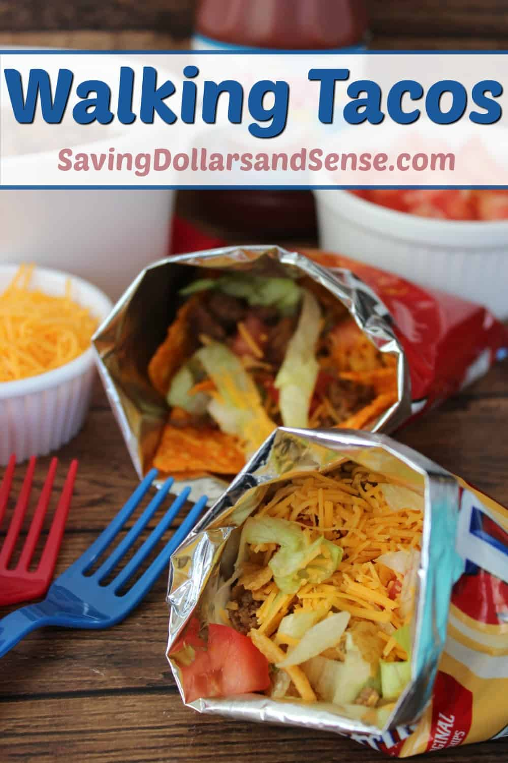 This Walking Tacos recipe is such a nice and easy idea for any party.Just pick up a bunch of snack sized bags of Doritos or Fritos and add a few other toppings for your guests to choose from.I love that each person has the ability to customize their own Walking Tacos!