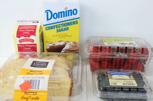 Strawberry Blueberry Pound Cake Trifle Recipe ingredients.