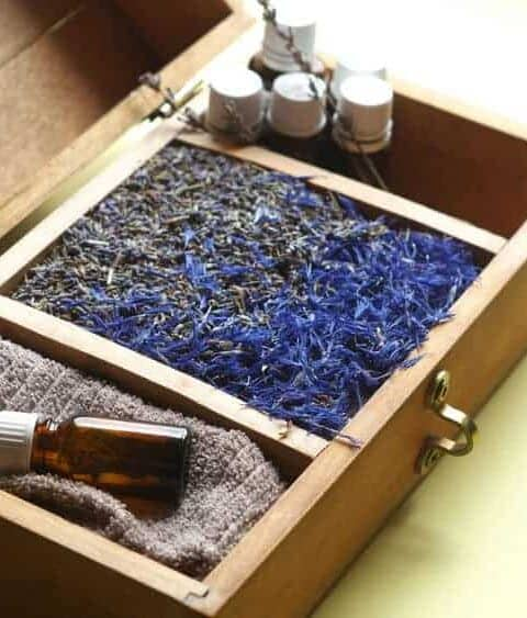 Wooden box of essential oils.