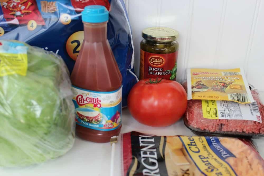 ingredients to make walking tacos