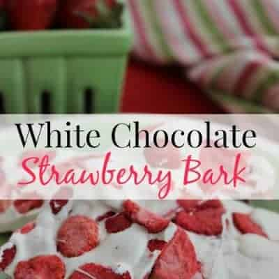 white chocolate strawberry bark