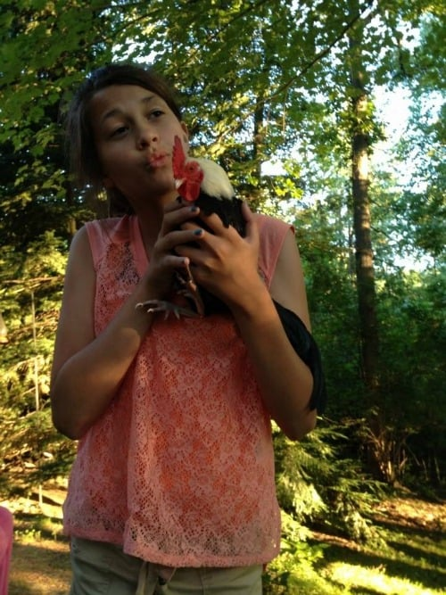 kara with rooster