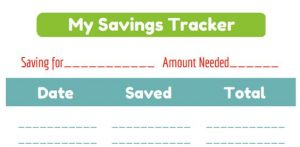 Free Printable Savings Tracker for Kids