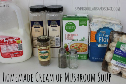 Ingredients to make homemade cream of mushroom soup.