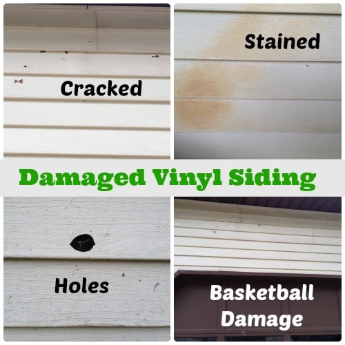 Damaged vinyl siding.