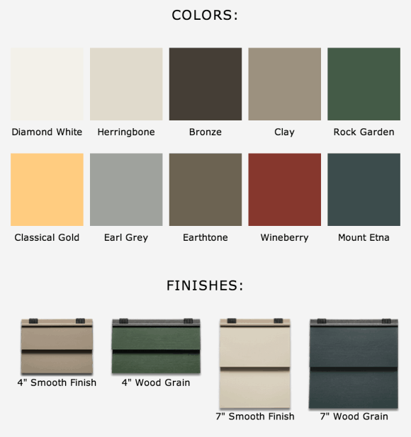 Colors and finishings of Apex siding.