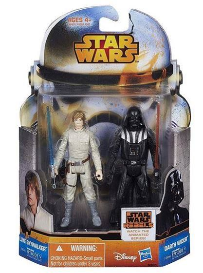 Star Wars action figures of Luke Skywalker and Darth Vader.