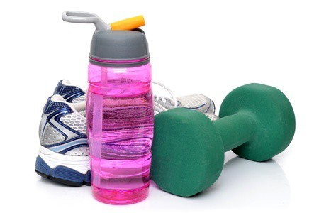 A water bottle, set of weights, and a pair of sneakers. Join Me For The Bikini Body Mommy Challenge