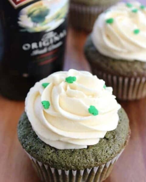 Green Velvet Cupcakes with Baileys Cream Cheese Frosting