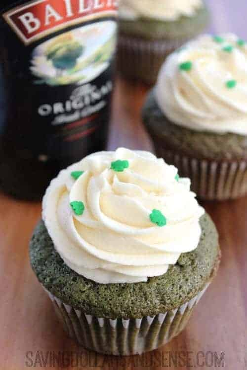 Bailey\'s green velvet cupcakes