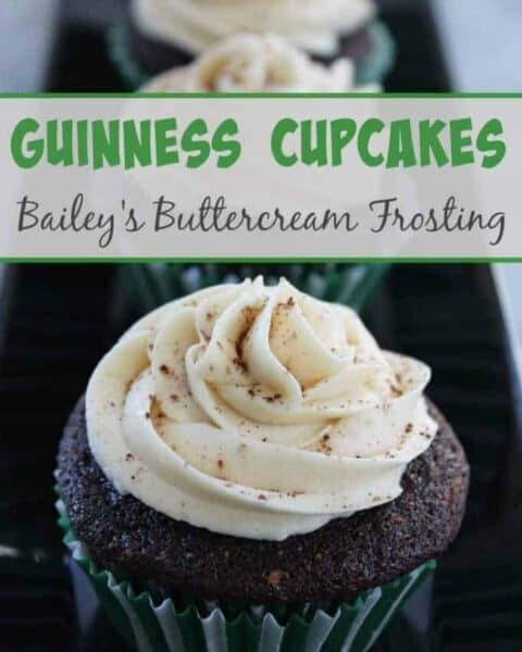 Guinness Cupcakes with Bailey's Buttercream Frosting