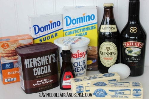 Guinness Cupcakes with Bailey\'s Buttercream Frosting ingredients.