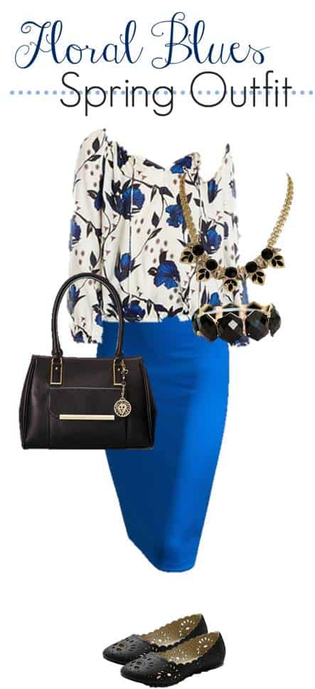 floral outfit that includes a blue pencil skirt, flower print blouse, black bag, flats and accesories