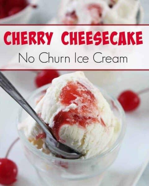 No Churn Cherry Cheesecake Ice Cream Recipe