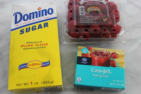Freezer Jam ingredients