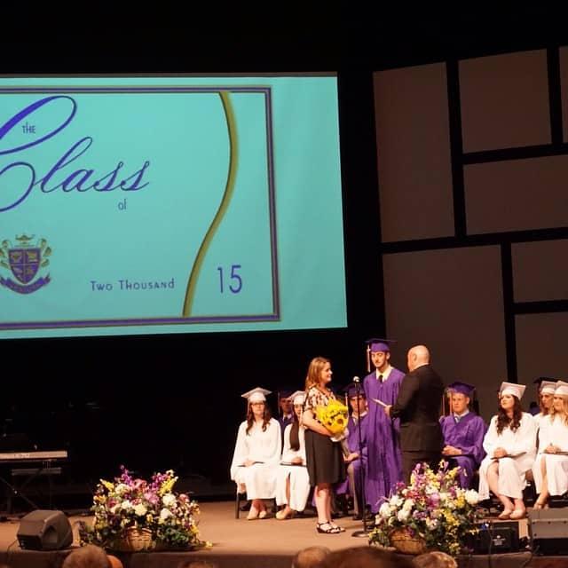 A high school graduation convocation giving awards.
